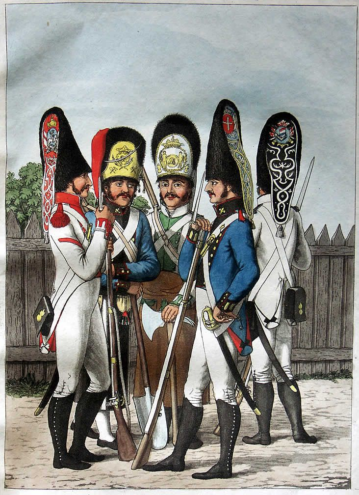Spanish infantry grenadiers of different regiments, c.1808