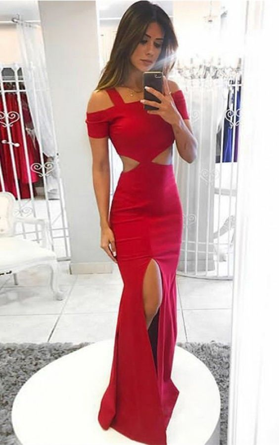 e6dc81e976 bodycon mermaid red prom dress with split, sexy off the shoulder party dress  with split
