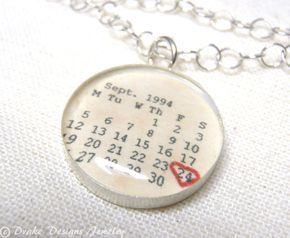 Personalized Calendar Necklace ...First Anniversary Paper Gifts, Wedding, Save the Date, any Special Day Personalized Necklace. $52.00, via Etsy.