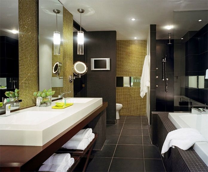 Hilton Hotel Bathroom - basins, wall hiding loro, glass shower dooraufteilung