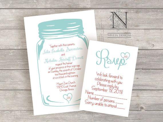 Beautiful Mason Jar Wedding Invitations Country Chic Rustic By Nellybean, $3.75
