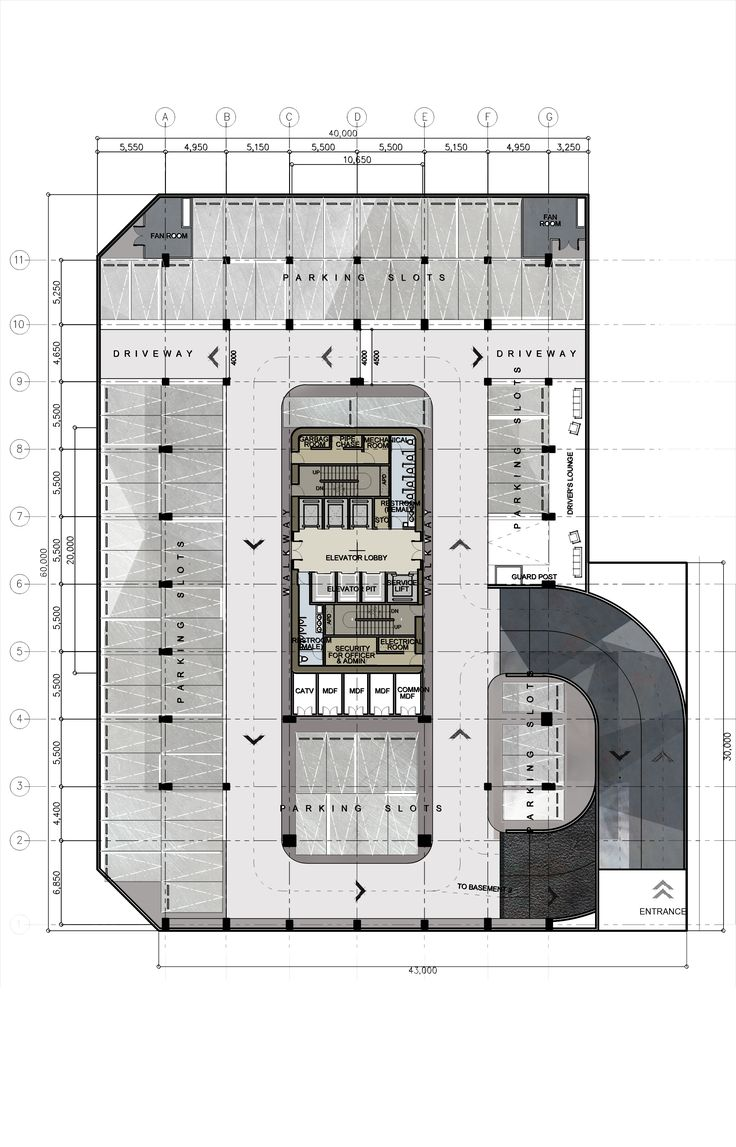 Basement Plan Design 8 / Proposed Corporate Office Building / High-rise Building / Architectural Layouts / Floor plans / Plates