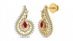 One of the most lovable Tear shape earring. Pear shape ruby color stone is giving elegance to these dazzling earrings. Diamonds & color stone are set in prong settings. Outer layer of diamond are set so fine & designed so proper that earring are looking very pretty. ~Making  Color stone & Diamond ring is made in ..................