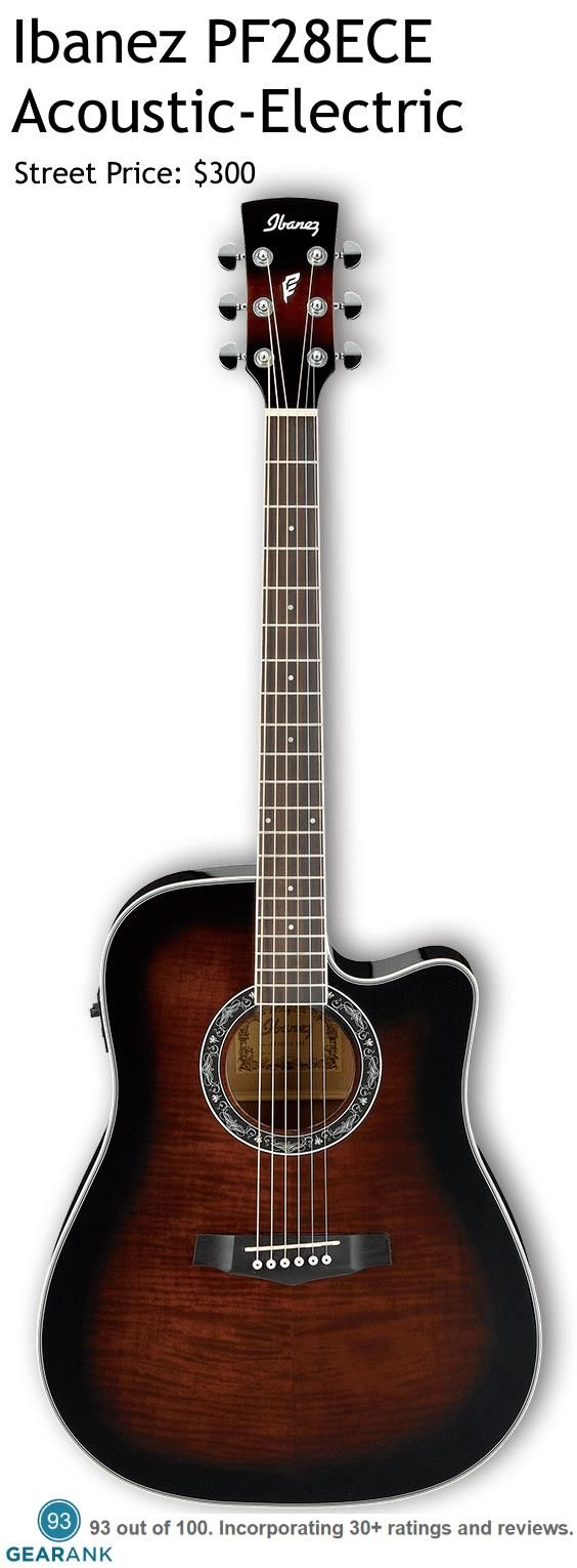 Ibanez PF28ECE Acoustic-Electric Guitar. It has a full-sized dreadnought body with a cutaway and Fishman electronics and is considered one of the best value guitars in this price range by many reviewers.
