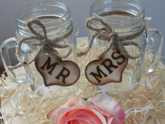 Mason Jars for Sale | SALE Mason Jar Wedding Glasses / Mr. and Mrs. by ... | For the Weddin ...