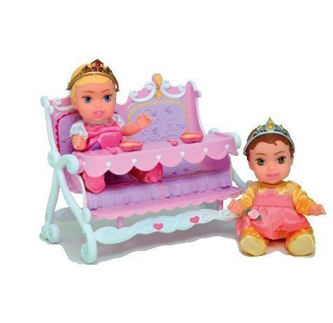 Aurora & Belle My First Disney Princess Little Princess Twinsies Feeding Set by Jakks. $14.32. It includes bowls, spoons, and twin feeding table required for feeding two little princesses, Aurora and Belle. With these perfectly portable dolls, you can take this little princess twin doll feeding set with you wherever you go. These dolls come in royal attire with a tiara, which makes them more attractive and adorable.