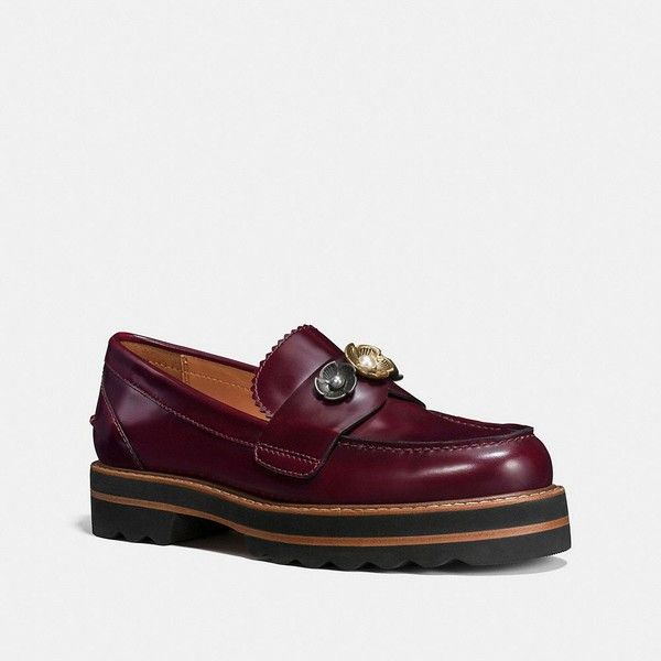 Coach Lenox Loafer Size  10  B (380 CAD) ❤ liked on Polyvore featuring shoes, loafers, cabernet, leather flats, flat shoes, loafer flats, leather shoes and platform shoes