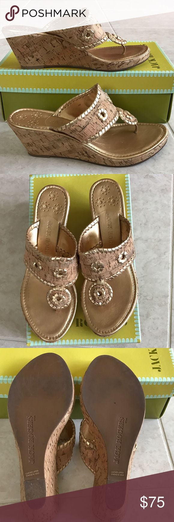 ❤Jack Rogers Marbella Mid Espadrille Cork Sandals 🌟LIKE NEW Jack Rogers Marbella Mid Espadrille Cork with Metallic gold leather wedge sandals, size 8. 🌟 Jack Rogers Shoes Wedges