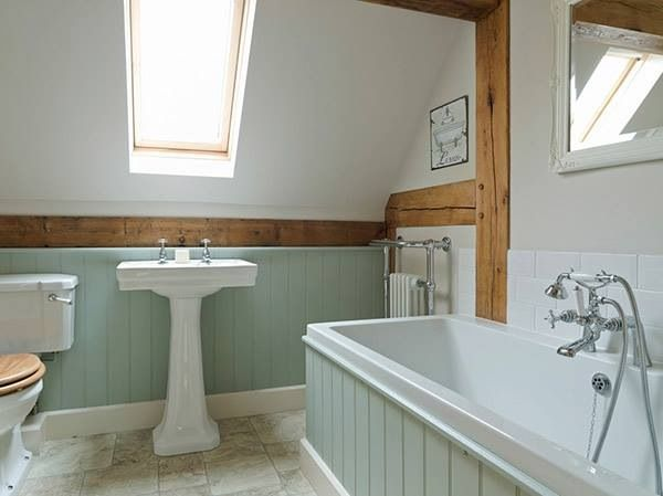 The panelling is painted in pearl colour dark by little for Tongue and groove wall panelling for bathrooms