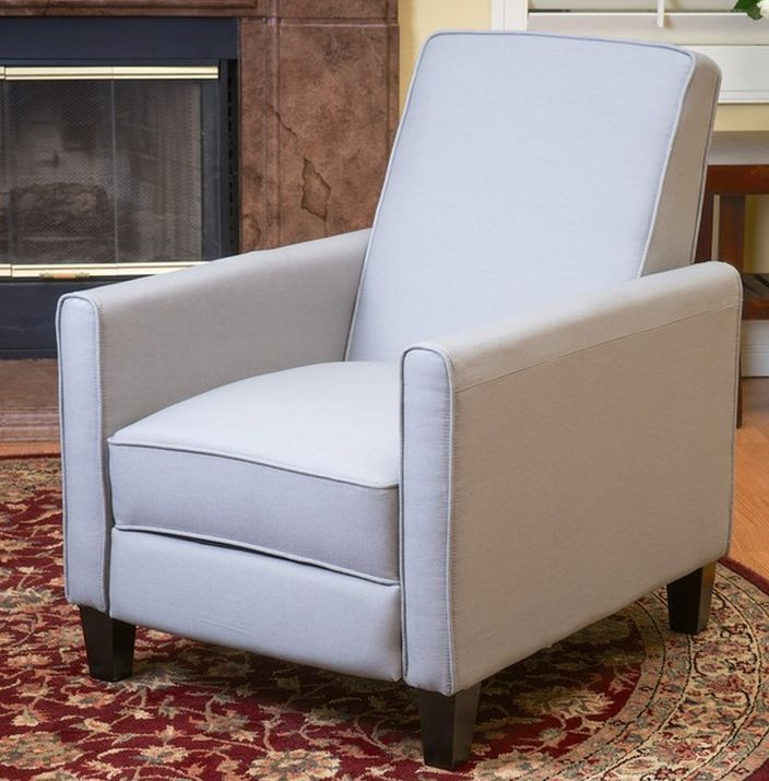 Recliner Chair Gray Linen Back Support Comfortable Lumbar