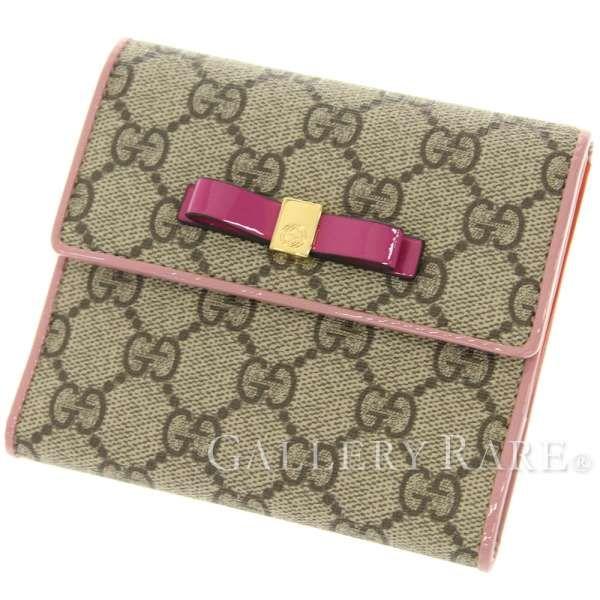 グッチ 財布 GGスプリーム キャンバス ウォレット リボン 二つ折り財布 406925 GUCCI Wホック財布