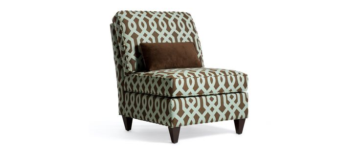 """Donna Fabric: Pamara Fountain Includes one kidney pillow 20"""" x 10""""  ARMLESS CHAIR Length (overall) 28"""" Length (inside) NA Depth (overall) 35"""" Depth (seat) 22"""" (as shown) Height (overall) 34"""" Height (arm) NA Height (seat) 18"""""""