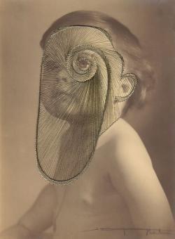 "Maurizio Anzeri, ""Lille"", Embroidery on photograph"