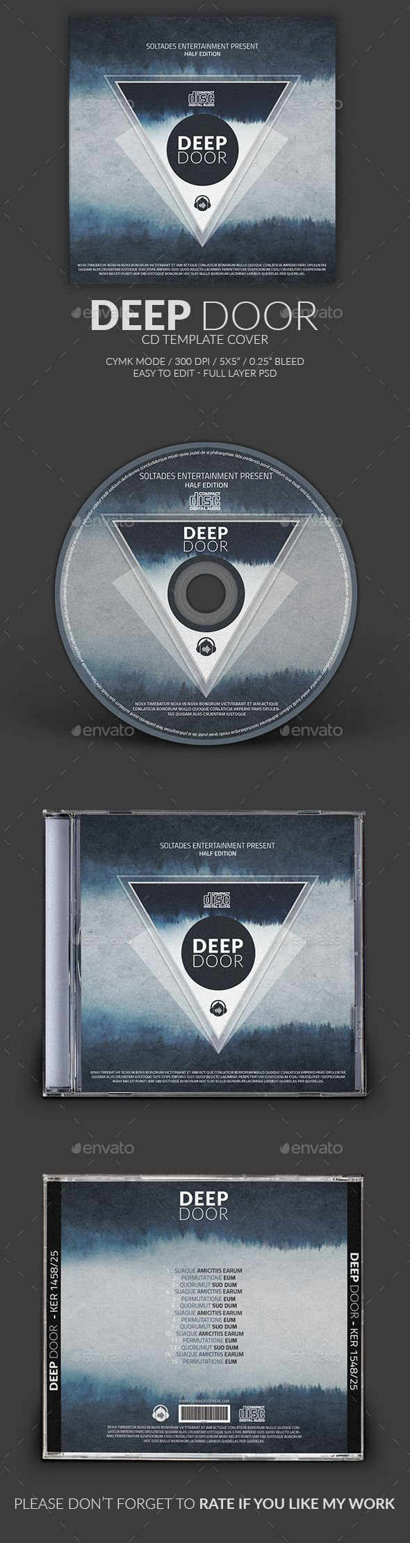 Deep Door CD Cover Template — Photoshop PSD #modern #futuristic • Available here → https://graphicriver.net/item/deep-door-cd-cover-template/11725486?ref=pxcr