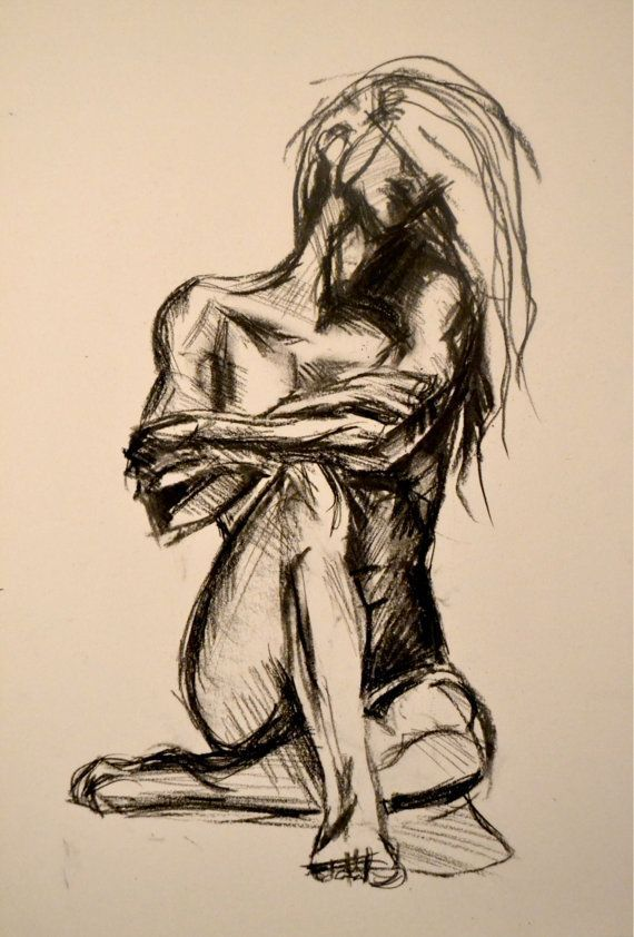 Charcoal Conte Drawing 'Nude Woman with Arms by CiaraMcQueirns