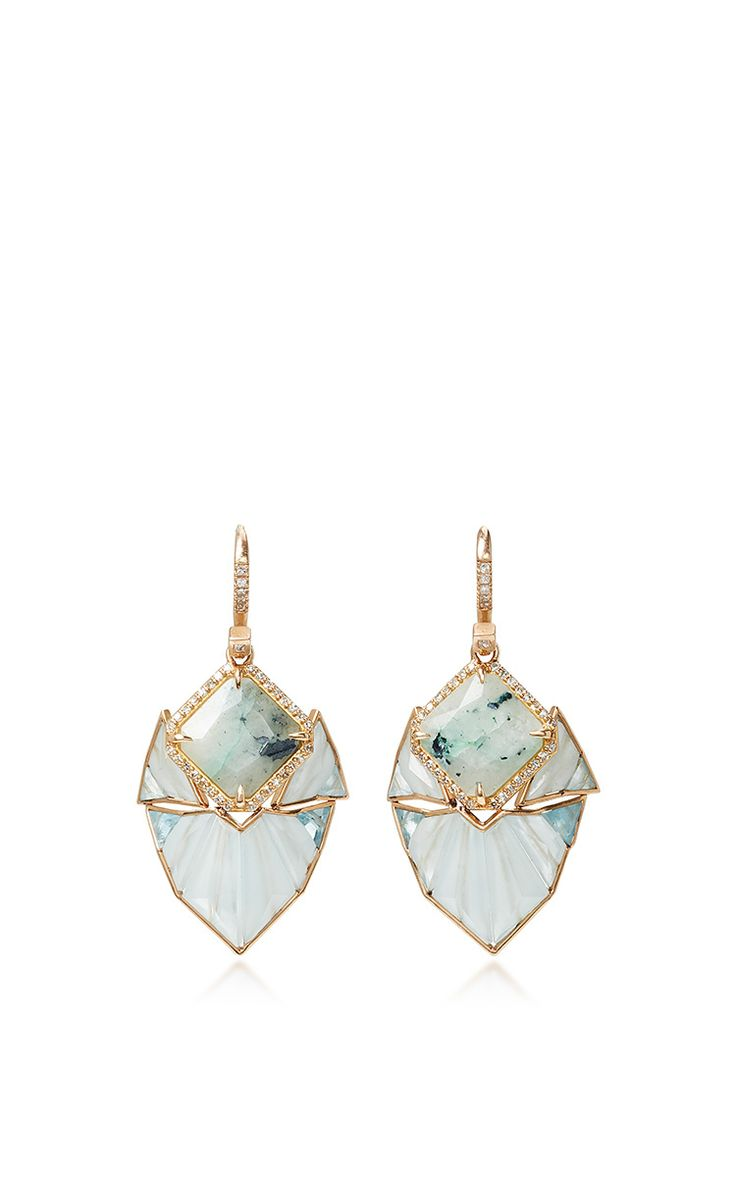 Mint Chalcedony and Aquamarine Earrings by Nak Armstrong.  | Moda Operandi