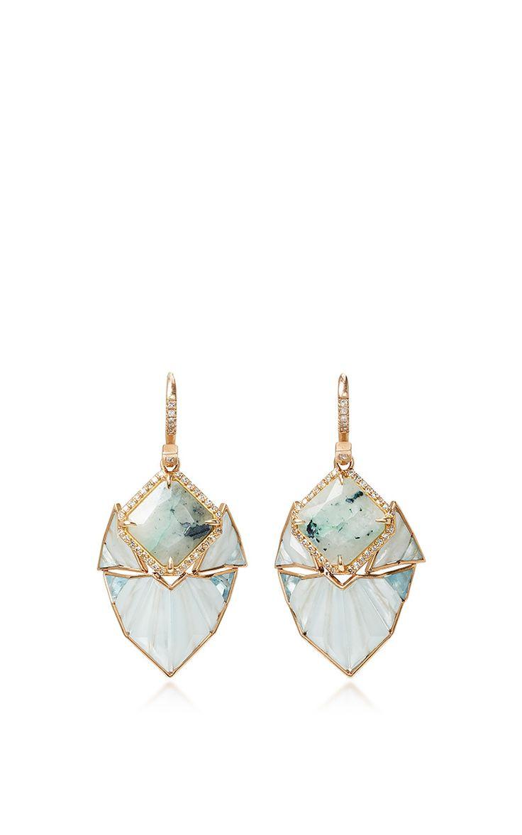 Mint Chalcedony and Aquamarine Earrings by Nak Armstrong.  | Moda Operandi