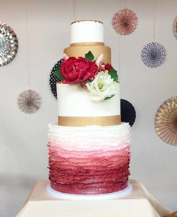 Chic wedding cake idea; Featured Cake: Buttercream Bakeshop
