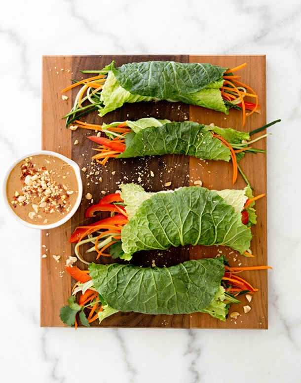 Vegetarian Cabbage Wraps With Grilled Tofu and Spicy Peanut Dipping Sauce
