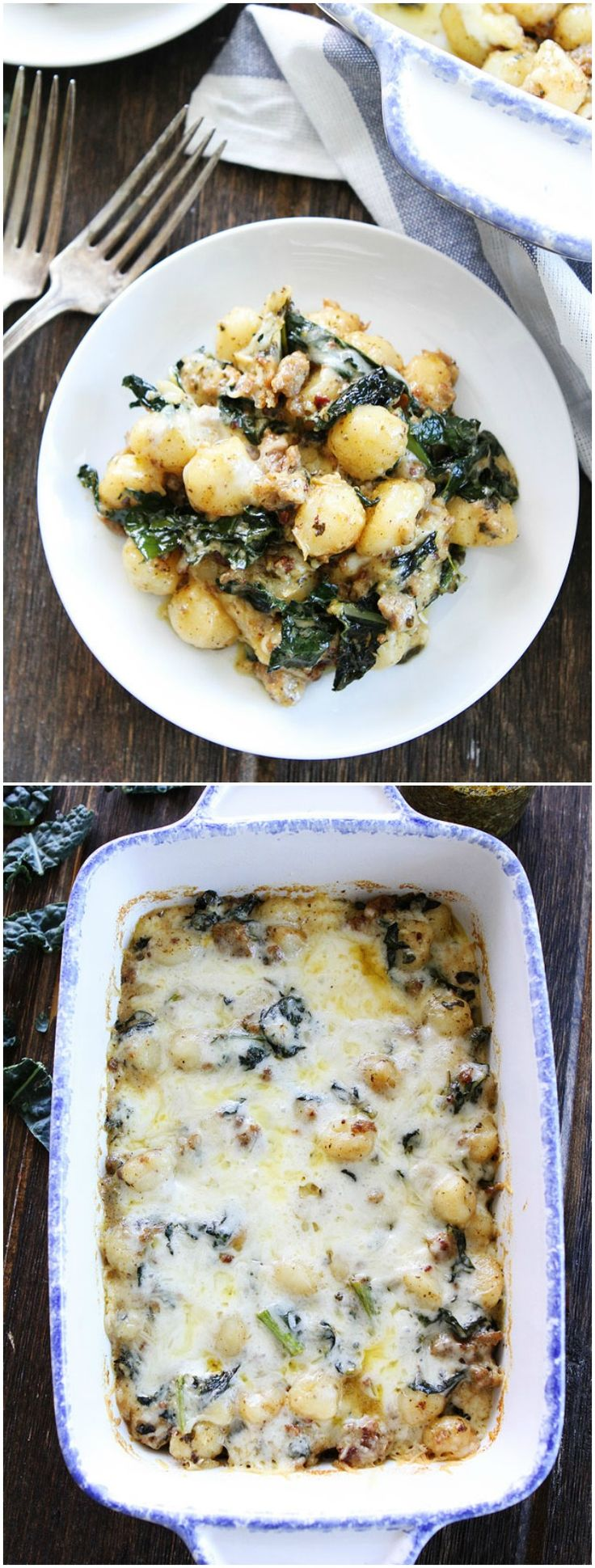 Baked Gnocchi with Sausage, Kale, and Pesto Recipe on twopeasandtheirpod.com. This easy baked gnocchi dish is perfect for weeknight dinners or entertaining!