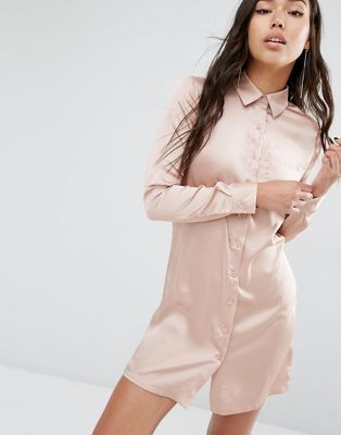 Boohoo Satin Shirt Dress