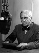 Sir Alexander Fleming at a BBC Radio interview - discovered penicillin, saved countless lives