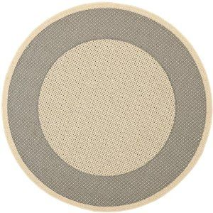 Safavieh CY7987-65A5 Courtyard Collection Indoor/Outdoor Round Area Rug, 7-Feet 10-Inch Diameter, Grey and Cream | $110.59