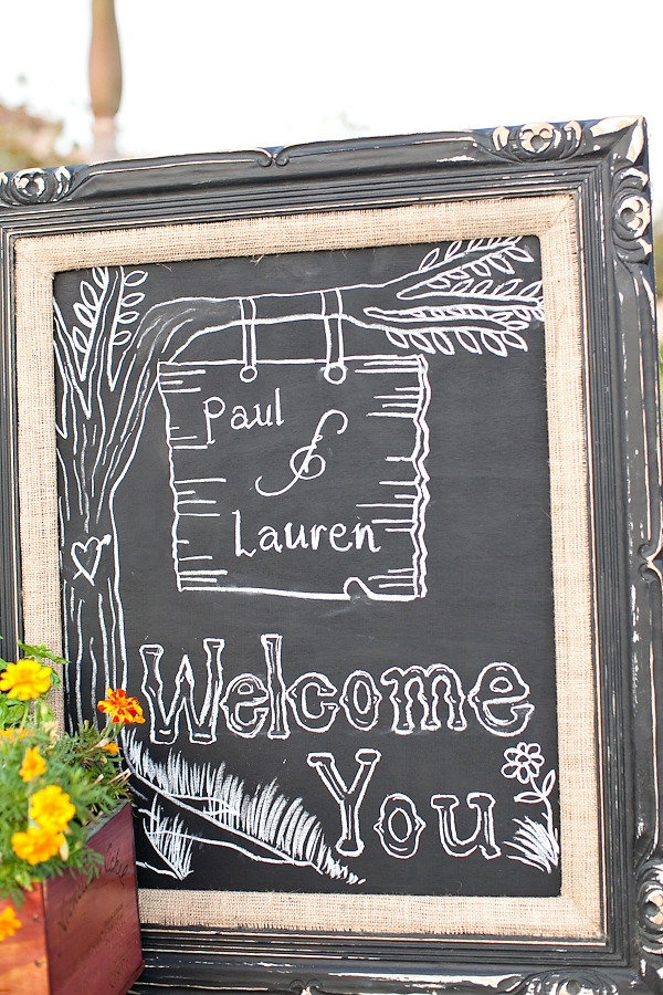 Kind of love this frame! Really compliments the chalkboard sign. http://su.pr/2dpN6i / Photography by seanwalkerphotography.com