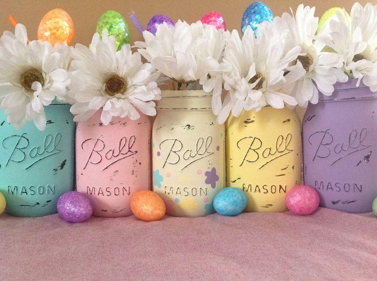 Set of 5 Easter Mason Jars, Mason Jars, Easter Decor, Easter Centerpieces, Spring Decor, Easter, Spring  by MidnightOwlCandleCo on Etsy https://www.etsy.com/listing/183052521/set-of-5-easter-mason-jars-mason-jars