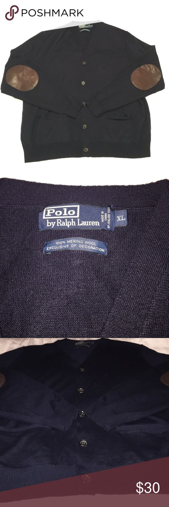 Ralph Lauren Polo Cardigan Navy Ralph Lauren Polo Cardigan with leather elbow patches. Great condition. No holes, rips, or tears. Polo by Ralph Lauren Sweaters Cardigan