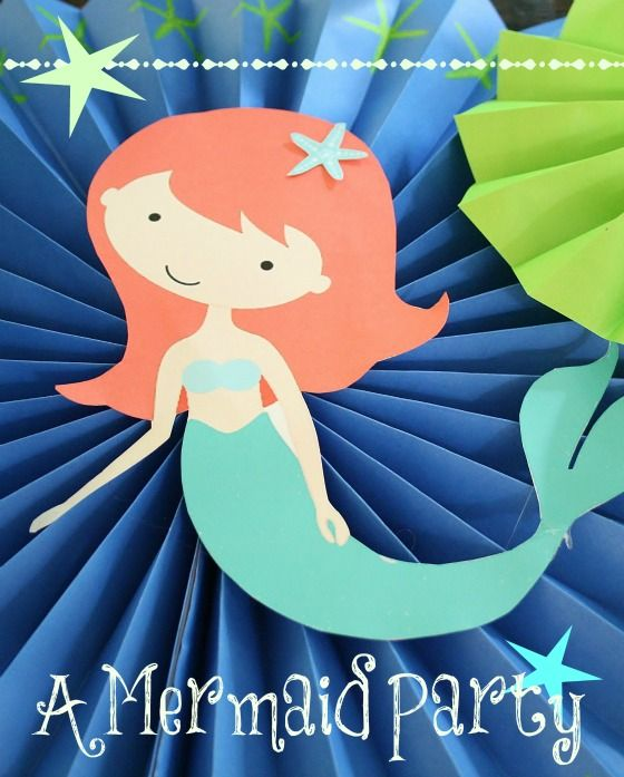 A Mermaid Party for a toddler! Includes links to the free printable mermaid and tips on how I used it to decorate. Sometimes the best decorations are the ones that are the simplest.  | The Glamorous Housewife