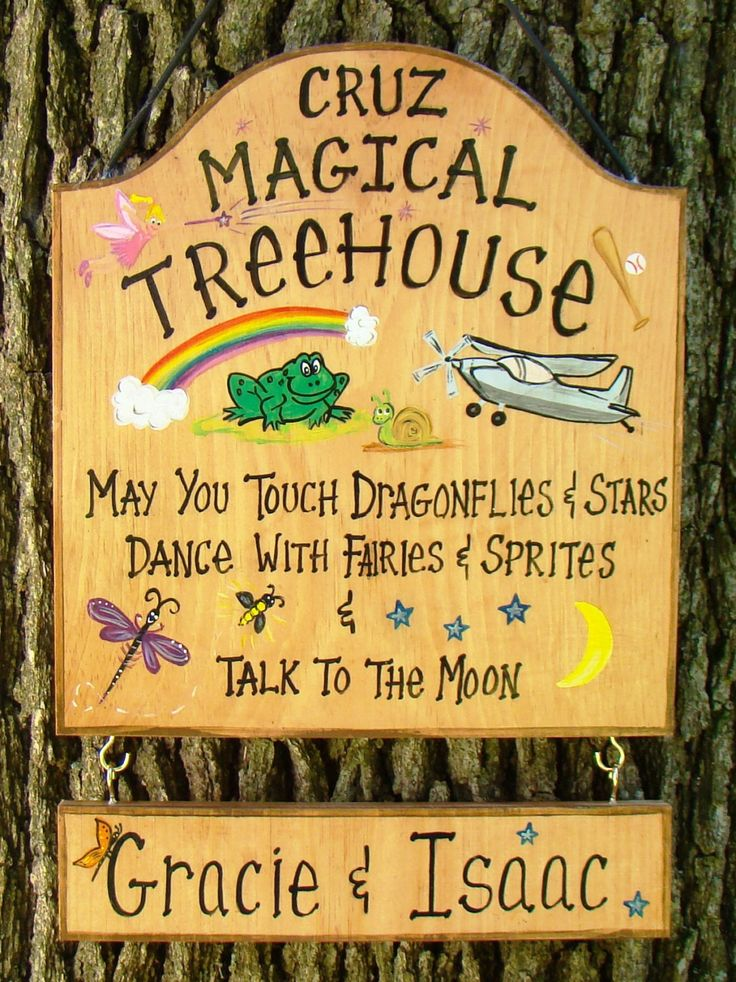 Custom Sign For Kids Tree House Cabin Summer Yard Playground Camping Tent  Personalized Names Etc.