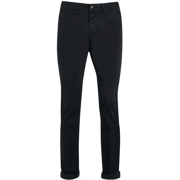 TOPMAN Black Stretch Skinny Chinos (655 MXN) ❤ liked on Polyvore featuring men's fashion, men's clothing, men's pants, men's casual pants, black, mens skinny pants, mens tapered pants, mens stretch pants, mens skinny chino pants and mens skinny fit dress pants