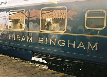 Belmond Hiram Bingham  Region: South America  Journey Type: Luxury     The gleaming blue-and-gold cars of the Hiram Bingham makes the 3.5-hour trip between Cusco and Machu Picchu every day but Sunday. The train has two 42-seat dining cars serving excellent Peruvian specialties for brunch on the journey to Machu Picchu, and for dinner on the evening return to Cusco.
