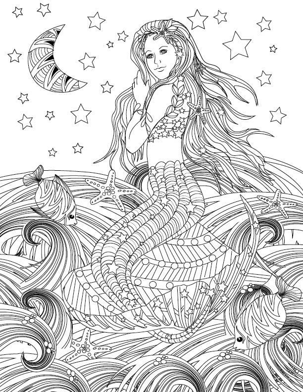 mermaid coloring page design ms