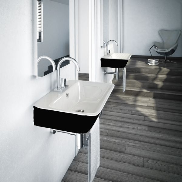 lavabo design suspendu ou poser sur plan de toilette 80x45 cm en c ramique blanche l. Black Bedroom Furniture Sets. Home Design Ideas