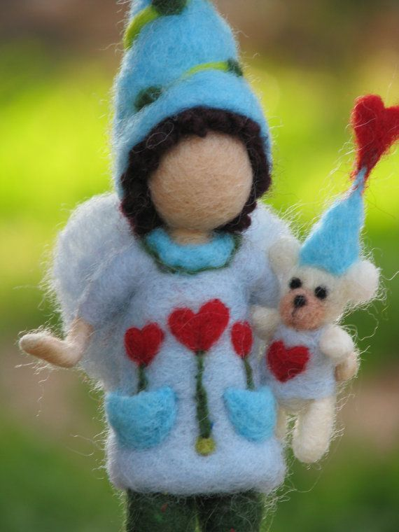 Needle felted waldorf inspired elf with teddy bear