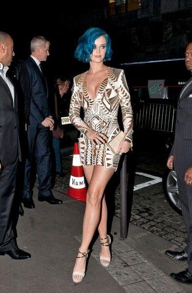 Katy Perry in Balmain at Paris Fashion Week, March 2012