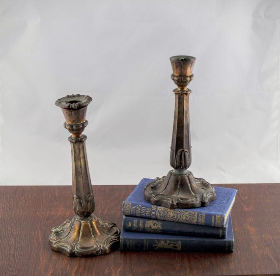 Art Nouveau Candlestick Holders  Antique Brass by LoAndCoVintage