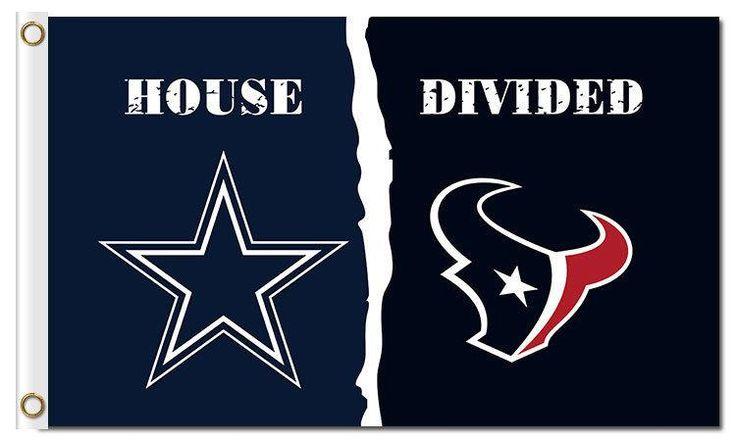 Dallas Cowboys and Houston Texans: House Divided Flag; 3'x5'