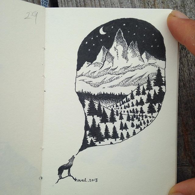 #wildlife #nature #mountains#wolftattoo #art#illustration