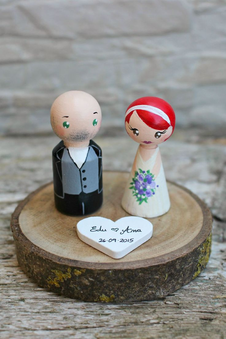 Personalized Wedding Cake Topper, Painted Wedding Cake Wood Peg Dolls, Custom Wedding Bride and Groom, Custom Cake Top, Wedding Cake Top by ArtwenShop on Etsy