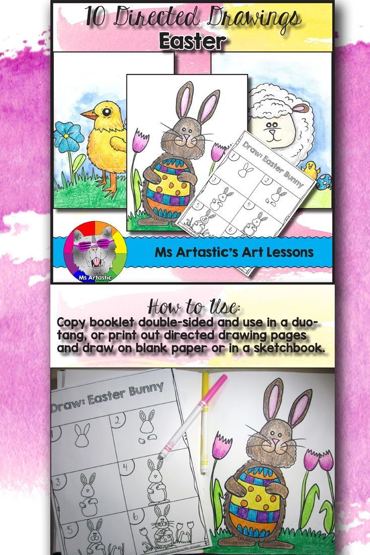 Easter Directed Drawing for your Classroom!Get set for Easter with 10 Directed Drawing Lessons for your students. This comes with a coloring title page, 10 step-by-step drawing pages, and a blank boarder page for students to draw on. 3 finished examples are included in this product to use to show your students expectations for coloring their drawings. This product also includes a 2 page lesson plan to help you run a successful art lesson and to save you time on planning!