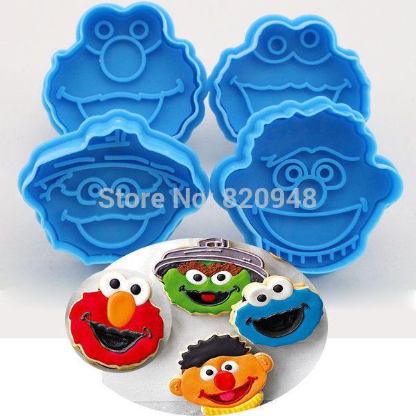 O envio gratuito de 1 conjunto Muppet cortador de biscoitos êmbolo biscoito biscoito bolo ferramenta Fondant Elmo Ernie monstro alishoppbrasil