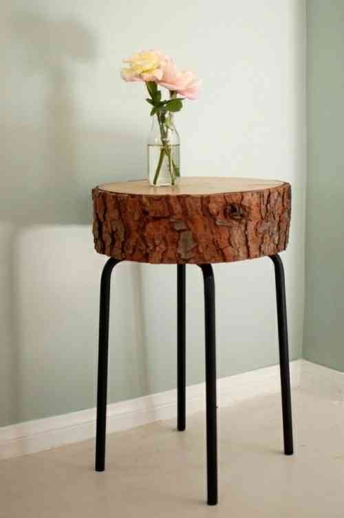 table basse déco en souche d'arbre