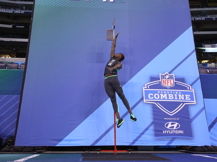 Ohio State quarterback Cardale Jones completes the vertical jump during drills at the NFL scouting combine in Indianapolis.  Brian Spurlock, Brian Spurlock-USA TODAY Sports