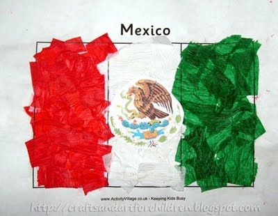 Mexican Flag Craft- a fun cultural art project to teach young kids about Mexico. Read about the history of the flag too - it's a cool story!