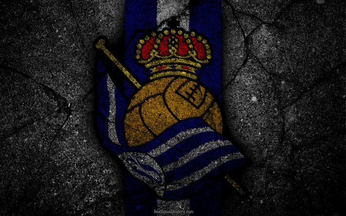 Download wallpapers Real Sociedad, logo, art, La Liga, soccer, football club, LaLiga, grunge, Real Sociedad FC