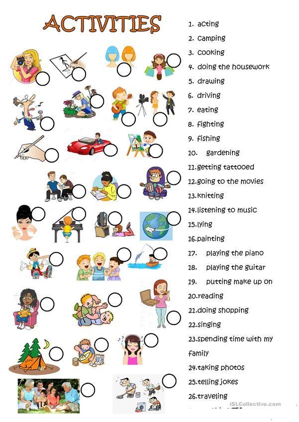ACTIVITIES SECOND VERSION | Enseñanza de inglés, Actividades ...