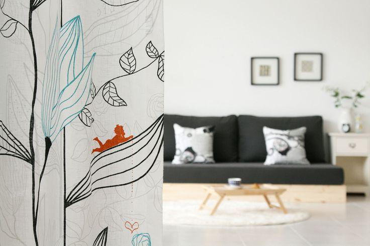 스웨덴 원단으로 제작한 페어리가든 수입커튼 - 목화나무숲